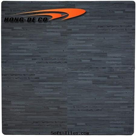 Black Wood Grain Foam Floor Mat