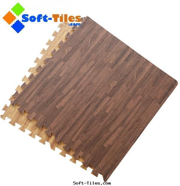Dark Wood Effecting Foam Floor Mat
