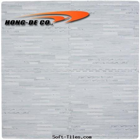 Gray Wood Grain Foam Floor Mat