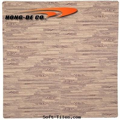 Light Wood Grain Foam Floor Mat